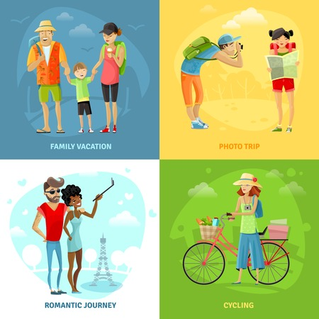 family illustration: Traveling concept icons set with photo trip and romantic journey symbols cartoon isolated vector illustration Illustration