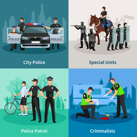 Police people 2x2 flat concept set of city police special units criminalists  and police patrol design compositions vector illustration Illustration