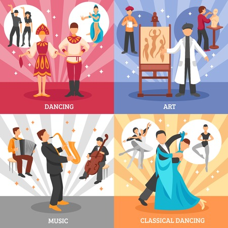 dancers: Artist people concept icons set with dancing and music symbols flat isolated vector illustration