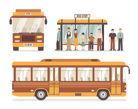 fare: Color flat decorative icons depicting bus stop people and city bus vector illustration Illustration