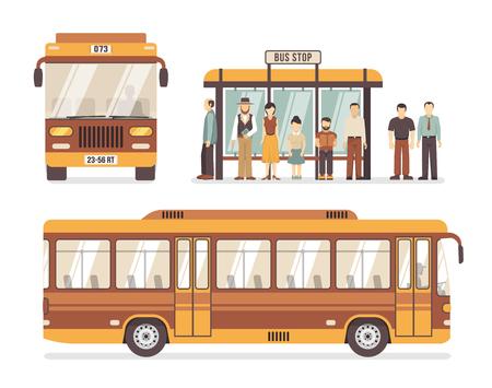 Kolor płaskie ikony dekoracyjne przedstawiające przystanek autobusowy osób i miasta ilustracji wektorowych autobusu