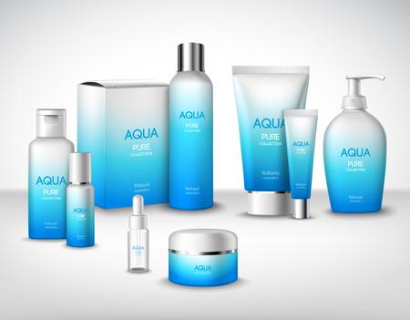cosmeticos: Aqua paquetes de cosméticos de tratamiento naturales puros conjunto decorativo ilustración vectorial