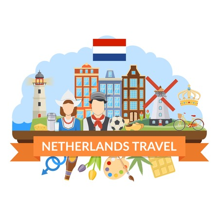 dutch landmark: Flat design netherlands travel composition with various dutch symbols traditional costumes cuisine and architecture on white background vector illustration