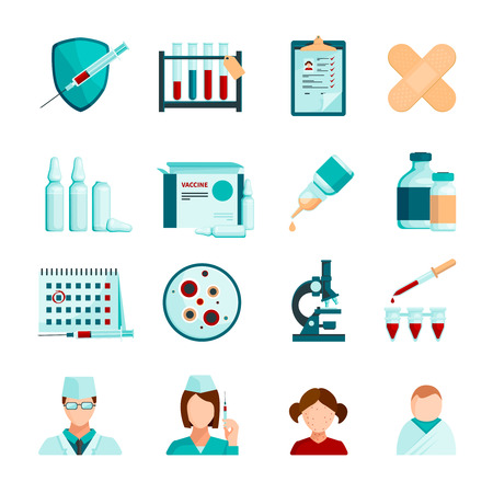 patients: Vaccination flat colored icons set of medical staffs young patients microscope  tubes and phials with vaccine isolated vector illustration