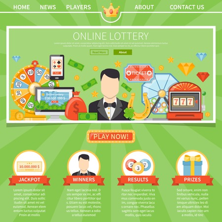 millionaire: Online lottery one page advertising template for website with games description and manager  contact information flat vector illustration Illustration
