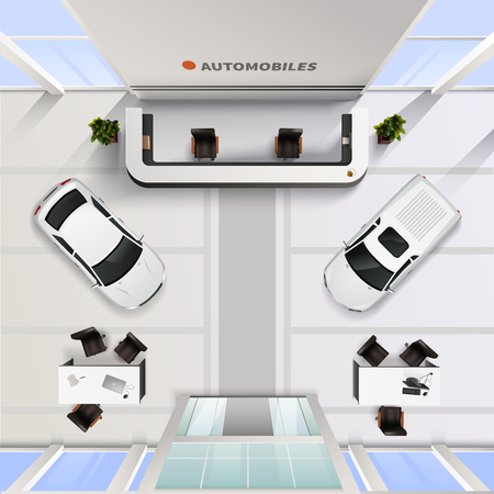 Isometrisch bovenaanzicht kantoor interieur van de auto salon met auto's en tafels voor medewerkers en klanten realistische vector illustratie Stock Illustratie