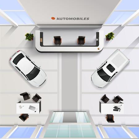 vista interior más alto cargo isométrica del salón de automóvil con los coches y mesas para los empleados y clientes ilustración realista