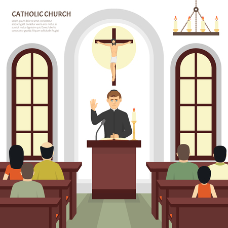 bishop: Color flat illustration depicting catholic church priest and crucifix vector illustration
