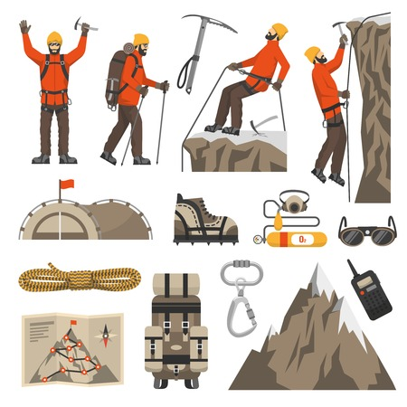 mountaineering: Color flat icons set of climbing hiking mountaineering equipments vector illustration