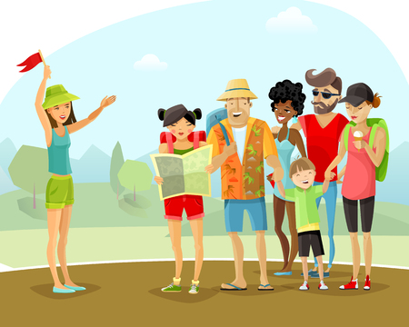 woman male: Group of cheerful male and female tourists with backpacks and map during tour vacation with young woman guide on mountains and trees background cartoon vector illustration.
