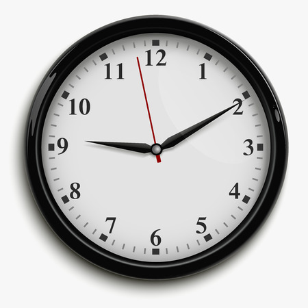 second hand: Wall office clock with black and red hands and white dial isolated on white background realistic vector illustration Illustration