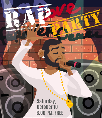 sound system: Rap concert poster with black singer and sound system on background vector illustration