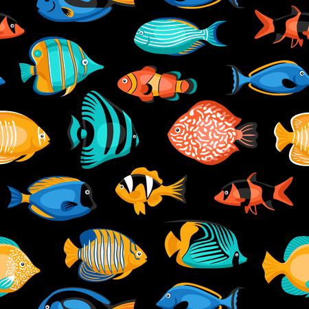Exotic tropical fish seamless pattern with bright species flat isolated vector illustration