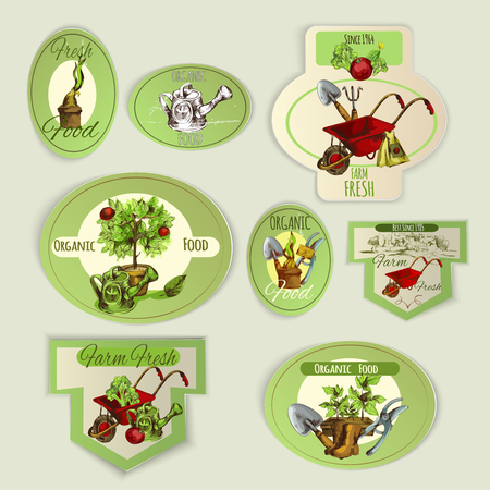 vegetable gardening: Vegetable gardening and organic food farm emblems set isolated vector illustration