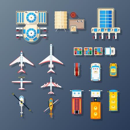 Luchthavengebouwen vliegveld parkeerplaats luchtvervoer en op de grond servicefaciliteiten elementen bovenaanzicht geïsoleerd set vector illustratie