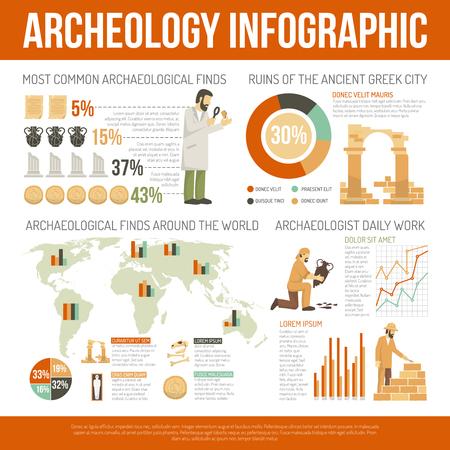 Color de infografía plana de información que representa la arqueología de Daly funciona ruinas hallazgos ilustración vectorial