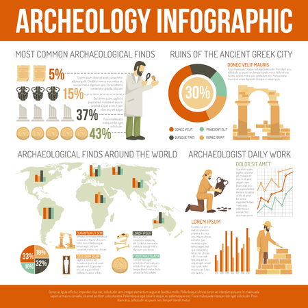 finds: Color flat infographic depicting archeology information of daly work ruins finds vector illustration Illustration