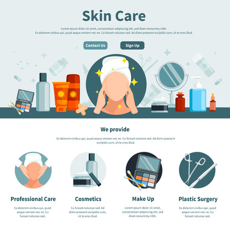 Skin care one flat page for web design with contact information professional and make up cosmetics circle icons vector illustration 向量圖像