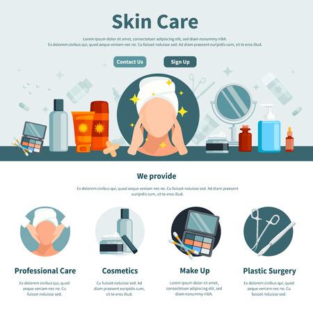 Soins de la peau une page plate pour la conception web avec des informations de contact professionnel et maquillage cosmétiques icônes cercle illustration vectorielle Vecteurs