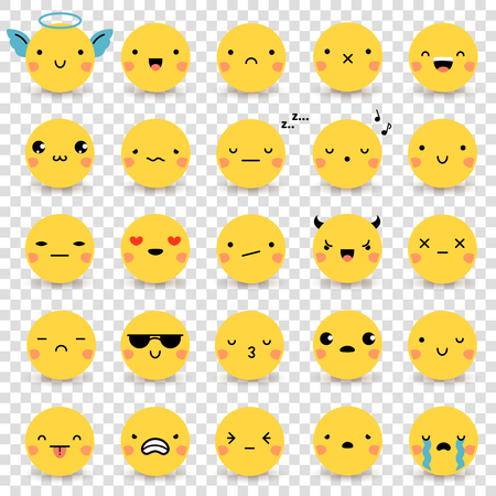 közlés: Huszonöt aranyos sárga lapos hangulatjelek beállított különböző érzelmek elszigetelt átlátszó háttér vektor illusztrációk