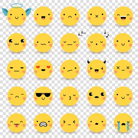 Veinticinco lindo emoticonos planas amarillas conjunto con diversas emociones aisladas en el fondo transparente ilustraciones de vectores