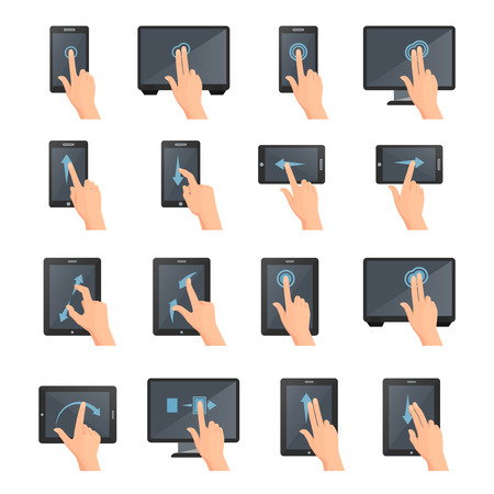 hand touch: Hand gestures on touch digital devices flat colored isolated decorative icons collection vector illustration