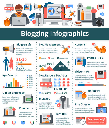 bloggers: Blogging flat infographics layout with blogger age groups statistics hot news and live stream presentation blog development tools vector illustration