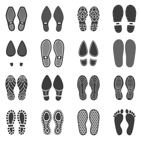 Monochromatyczne ikony zestaw równoległych buty odcisk z białym tle ilustracji wektorowych