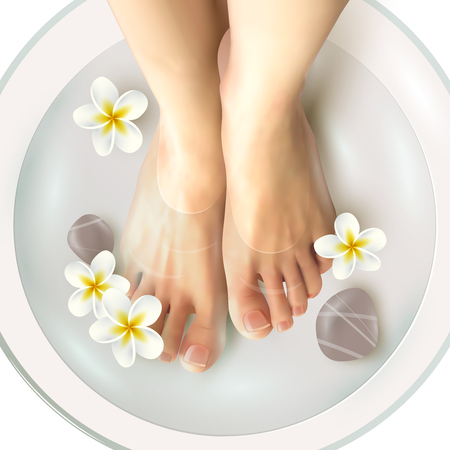 footcare: Pedicure spa female feet in spa bowl with water flowers and stones realistic vector illustration