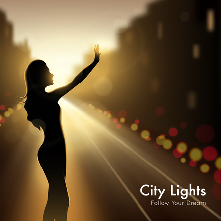 city lights: Girl silhouette in city lights design concept at night urban background and description follow your dream vector llustration