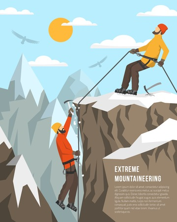 mountaineering: Color flat illustration depicting extreme mountaineering vector illustration Illustration
