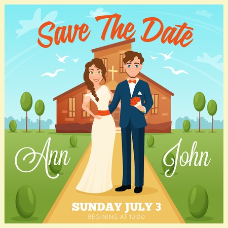 honeymooners: Wedding invitation cartoon card with bride and groom on church background and wedding date flat vector illustration