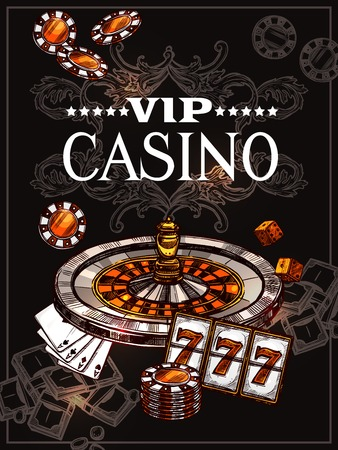 Vip casino poster with roulette wheel cards for poker play chips dice and jackpot icons in sketch style vector illustration