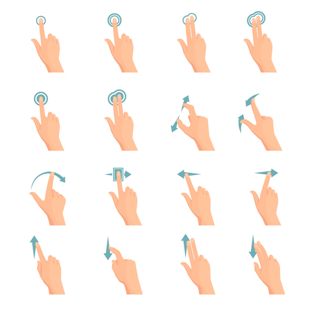 klik: Touch screen hand gestures flat colored icon series with arrows showing direction of movement of fingers isolated vector illustration
