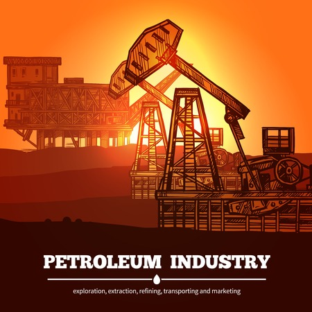 industry design: Petroleum industry design concept with hand drawn oil rigs and description exploration extraction refining transporting and marketing vector illustration