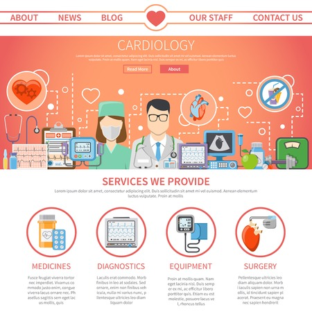 preventive: Website flat page presenting information about services provided by cardiology center and tools for heart care vector illustration Illustration