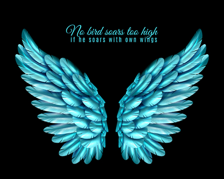 Black background with bright pair of big bird wings of blue color in middle and quotation realistic vector illustration