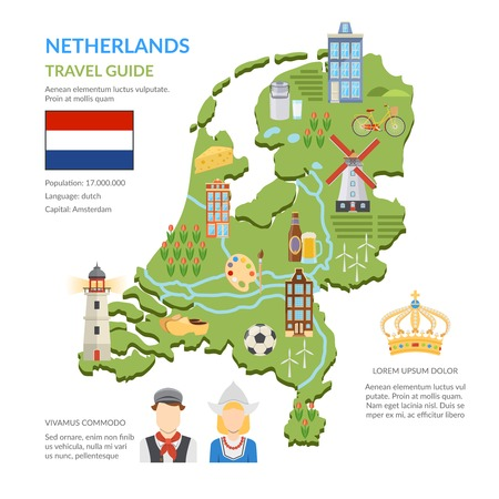 Flat design netherlands travel guide infographics presenting green map with dutch symbols flag and national costumes on white background vector illustration