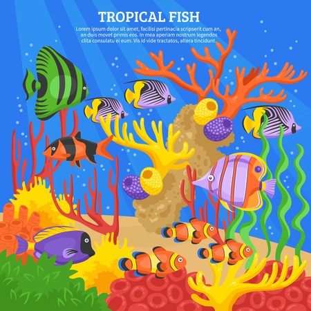 sea water: Tropical fish sea background with corals and water flat vector illustration