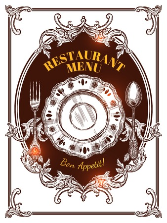 Restaurant menu hand drawn vintage cover with elements of serving and wishes for good appetite vector illustration