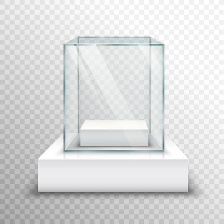 Realistic empty glass for exhibiting on transparent background isolated vector illustration Illustration