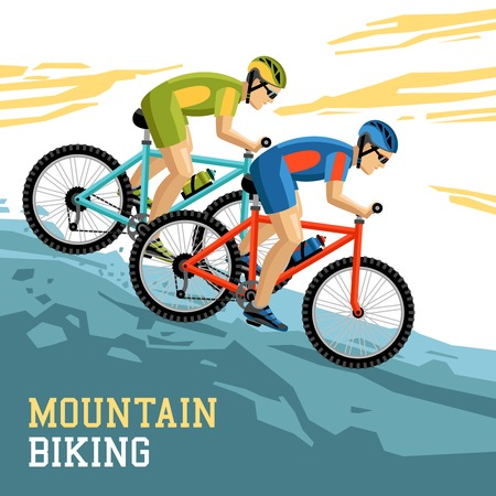 Mountain biking vector illustration with two bicyclist in sport form and helmets coming downhill on bikes