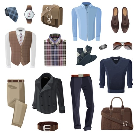 formal wear: Flat fashion formal wear and accessories set for business man in shades of brown black and blue on white background isolated vector illustration Illustration