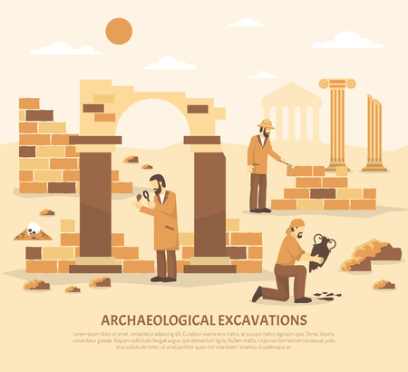 archaeological: Color flat illustration depicting scientists conducting archaeological excavations vector illustration
