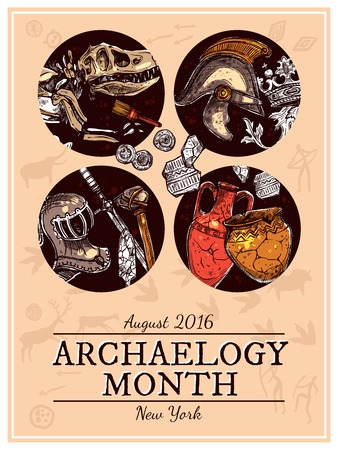 archeology: Hand drawn sketch archeology poster with knightly armour and skeleton of ancient  animal images vector illustration