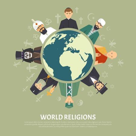 moine: illustration plat couleur représentant différent confession religieuse du monde avec le titre illustration vectorielle