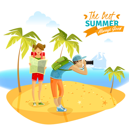 Young couple on summer vacations on tropical island cartoon vector illustration