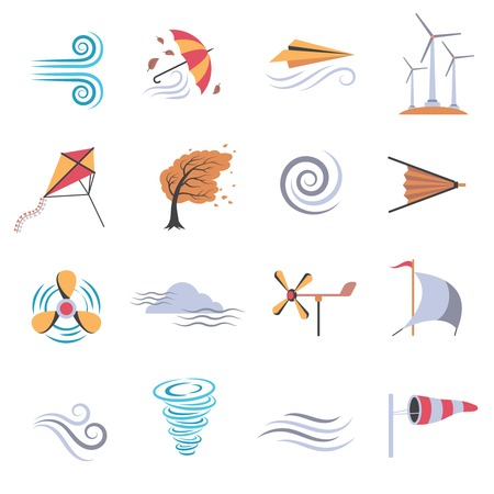 wind: Set of color flat icons depicting different objects that make or use wind with white background vector illustration