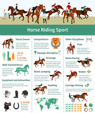 derby hats: Horse rising infographics flat layout with rodeo carriage driving dressage vaulting advertising vector illustration Illustration