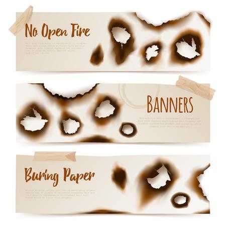 Conjunto de banderas de papel con los bordes quemados horizontales y agujeros quemados en la ilustración del vector del estilo realista Ilustración de vector